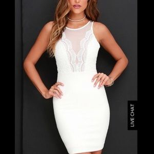NWOT Lulus bodycon white lace dress, XS